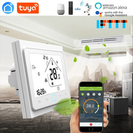 TUYA 2 Pipe 4 Pipe Fan Coil Programmable WiFi Central Air Conditioner Thermostat Temperature Controller Unit Work with Alexa|Smart Temperature Control System|