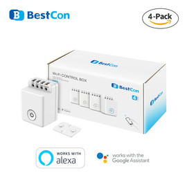 4 Pack BroadLink Bestcon MCB1 Wifi Light Switch Smart Automation Module Works with Google Home and Alexa|Home Automation Modules|
