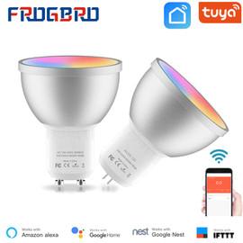 FROGBRO 5W Smart LED Light Bulbs Lamp MR16 GU10 GU5.3 Bi pin RGBCW Dimmable Color Changing Sync with Music Work with Alexa Tuya|LED Bulbs & Tubes|