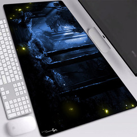 Deer Silhouette Forest Mat Pad Large Mouse Pad with Sewn Edges Dirt resist Gaming Mouse Pad Desktop Keyboard Pads 900x400mm|Mouse Pads|