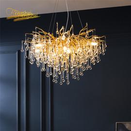 Nordic Loft Crystal LED Chandelier Crystal Kitchen Mdoern for Living Room Villa Staircase E14 Lighting Hanging Lamp Indoor Decor|Chandeliers|