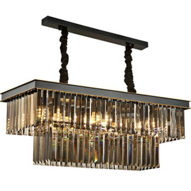 Dining Table Dining Lamp Chandelier Chandelier Crystal Rectangular Creative Personality Dining Room Lamp Bar Modern Chandelier|Chandeliers|