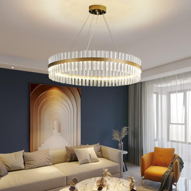 FSS Luxury Gold Round Chandelier For Living Dining Room LED Bedroom Light Transparent Glass Simple Ring Lampshade|Chandeliers|
