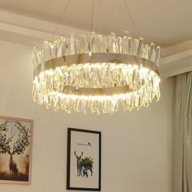 Fss New Modern Crystal Chrome Gold Round Rectangle Chandelier Lighting For Living Room Bedroom Kitchen Island Lustre LED Lamp|Pendant Lights|