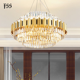 Modern gold chandelier lighting for living room luxury round crystal lamp home decoration chain led cristal light fixtures|Chandeliers|