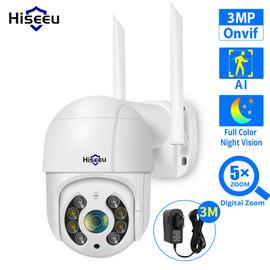 Hiseeu 3MP WIFI IP Camera Outdoor HD Full Color Night Vision PTZ Waterproof Security Speed Camera AI Human Detection ONVIF ICSee|Surveillance Cameras|
