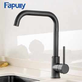 Fapully Kitchen Faucet 360 Rotate Black Mixer Faucet for Kitchen Rubber Design Hot and Cold Deck Mounted Crane for Sinks AEF0012 Kitchen Faucets 