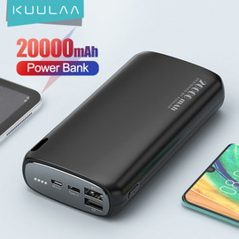 KUULAA Power Bank 20000mAh Portable Charging Poverbank Mobile Phone External Battery Charger Powerbank 20000 mAh for Xiaomi Mi|Power Bank|