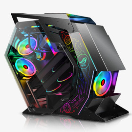 DIY Open Desktop ATX Computer Case Tempered Glass Sides Transparent Gamer Gaming Computer Towers Support M ATX/ ITX Motherboard|Computer Cases & Towers|