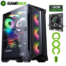 Gamemax Brufen C1 Mid Tower Gaming PC Case Comes With 4 120mm ARGB Fan Gamer DIYer Tempered Glass Computer Case Chassis For EATX|Computer Cases & Towers|