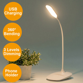 2000mAh Table Lamp with Phone Holder Base Rechargeable 3 Modes Dimmer LED Stand Desk Lamp Touch Switch Office Study Room Light|Desk Lamps|