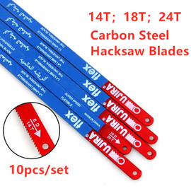 10Pcs/set 300mm 3 Types14T 18T 24T Hacksaw Blades Carbon Steel Hand Saw Metalworking Saw Blade For Cutting Metal DIY Tools|Saw Blades|