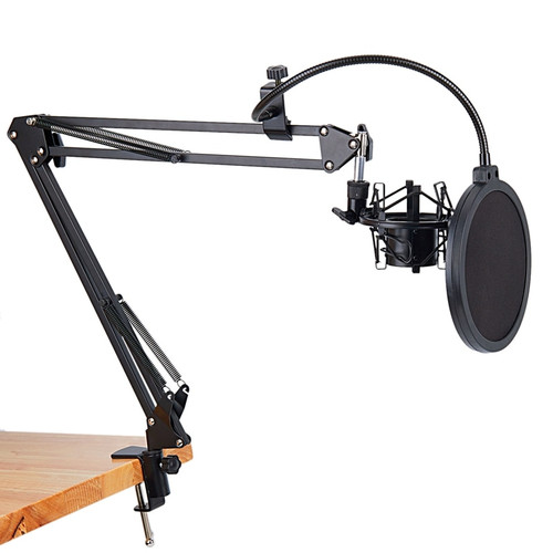 Promotion NB 35 Microphone Scissor Arm Stand and Table Mounting Clamp&NW Filter Windscreen Shield & Metal Mount Kit|Mic Stand
