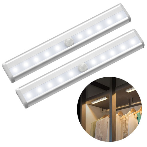 6/10 LEDs PIR LED Motion Sensor Light Cupboard Wardrobe Bed Lamp LED Under Cabinet Night Light For Closet Stairs Kitchen|Under Cabinet Lights