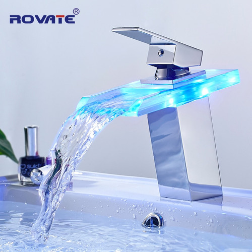 ROVATE LED Basin Faucet Brass Waterfall Temperature Colors Change Bathroom Mixer Tap Deck Mounted Wash Sink Glass Taps|Basin Faucets