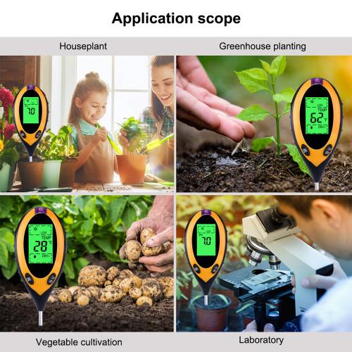 4 In 1 Digital PH Meter Soil Moisture Monitor Temperature Sunlight Tester For Gardening Plants Farming With Black Light|PH Meters