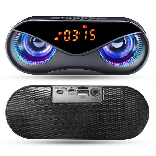 Bluetooth Speaker Cool Owl Design LED Flash Portable Wireless Loudspeaker TF Card FM Radio Alarm Clock TV Bass Smart Display M6 Subwoofer