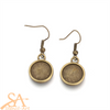 Alloy Earring Hooks 12mm-Cabochon Setting Antique Bronze 10/pkg