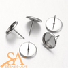 304 Stainless Steel Earring Posts with Round Cabochon Setting 10mm 20 Pcs Pin: 0.7mm