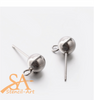 304 Stainless Steel Earring Stud Ball & Loop 6mm 20 pieces