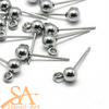 304 Stainless Steel Earring Stud Ball & Loop 15x7x4mm 50 pieces