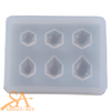 Silicone Resin Mould Assorted Stud Hexagon Earring Set 50x40x5mm
