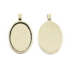 Oval Flat Alloy Pendant 30x20mm - Antique Silver 10 pieces