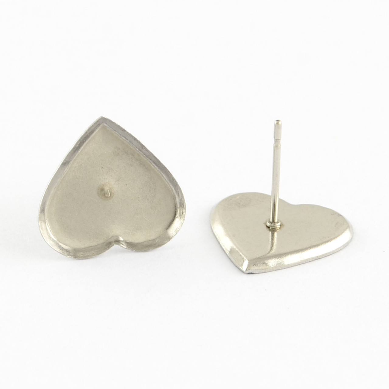 304 Stainless Steel Heart Earring Posts 9x8x1.5mm Pin 0.5mm 10/pkg