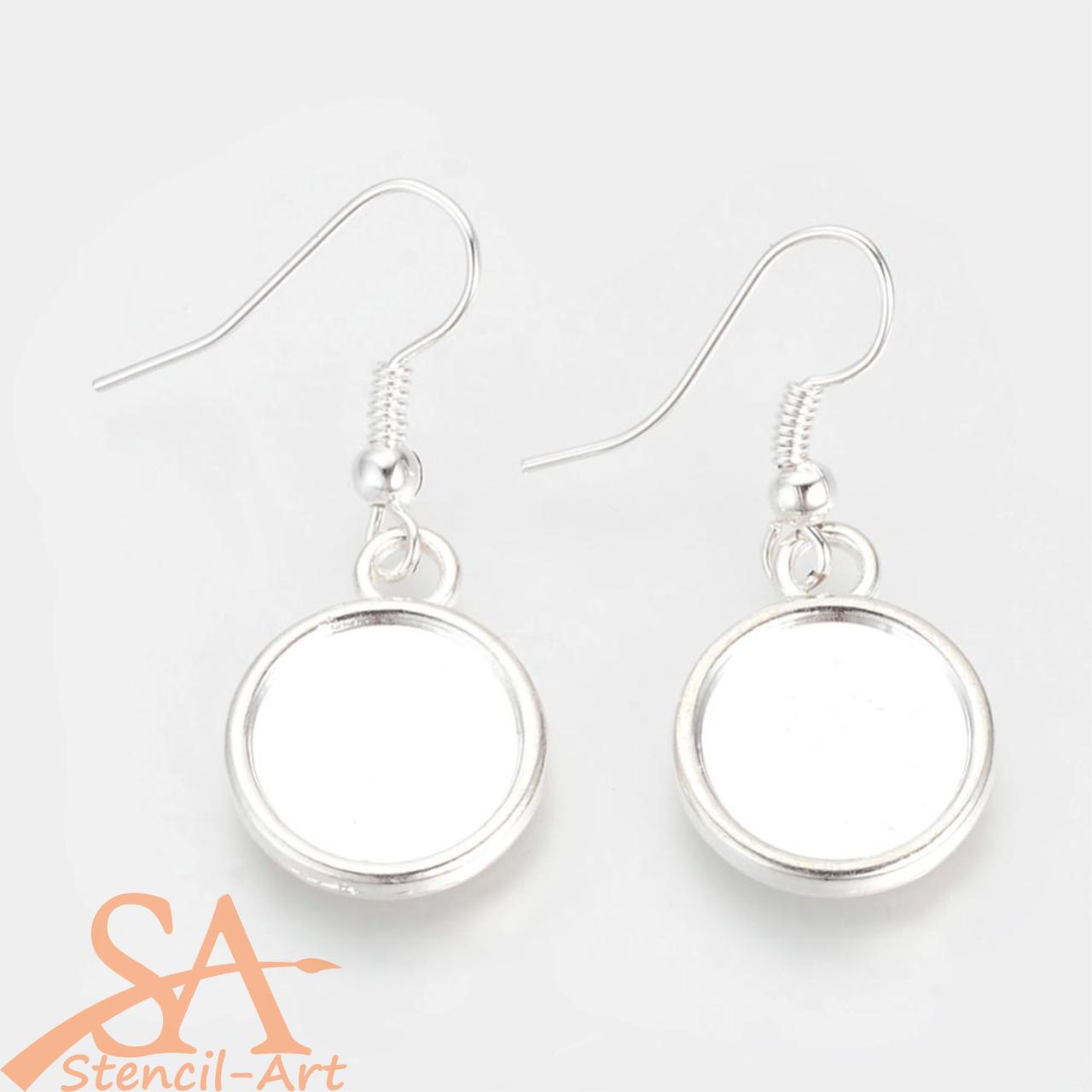 Alloy Earring Hooks 12mm-Cabochon Setting Silver 10/pkg