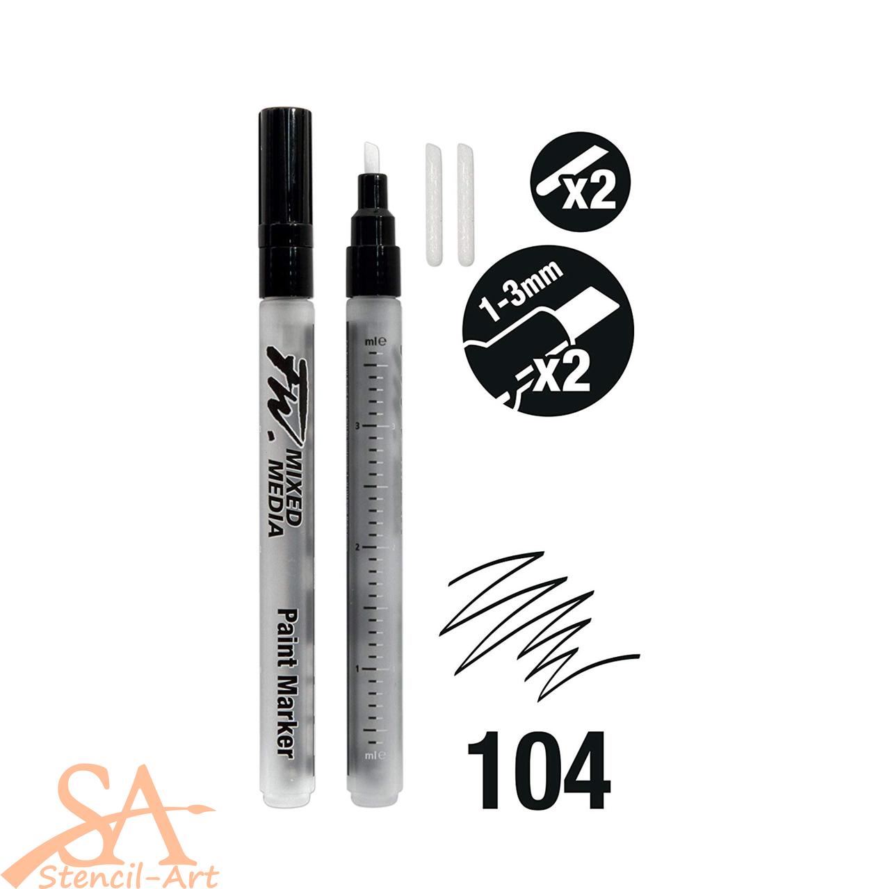 Daler-Rowney FW Empty Paint Markers -  Chisel Nib 1-3mm 2 Pcs