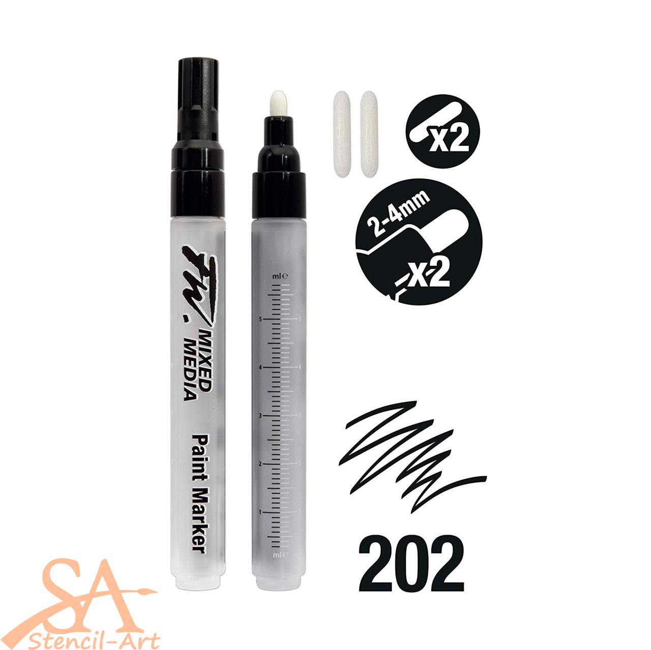 Daler-Rowney FW Empty Paint Markers -  Round Nib 2-4mm 2 Pcs