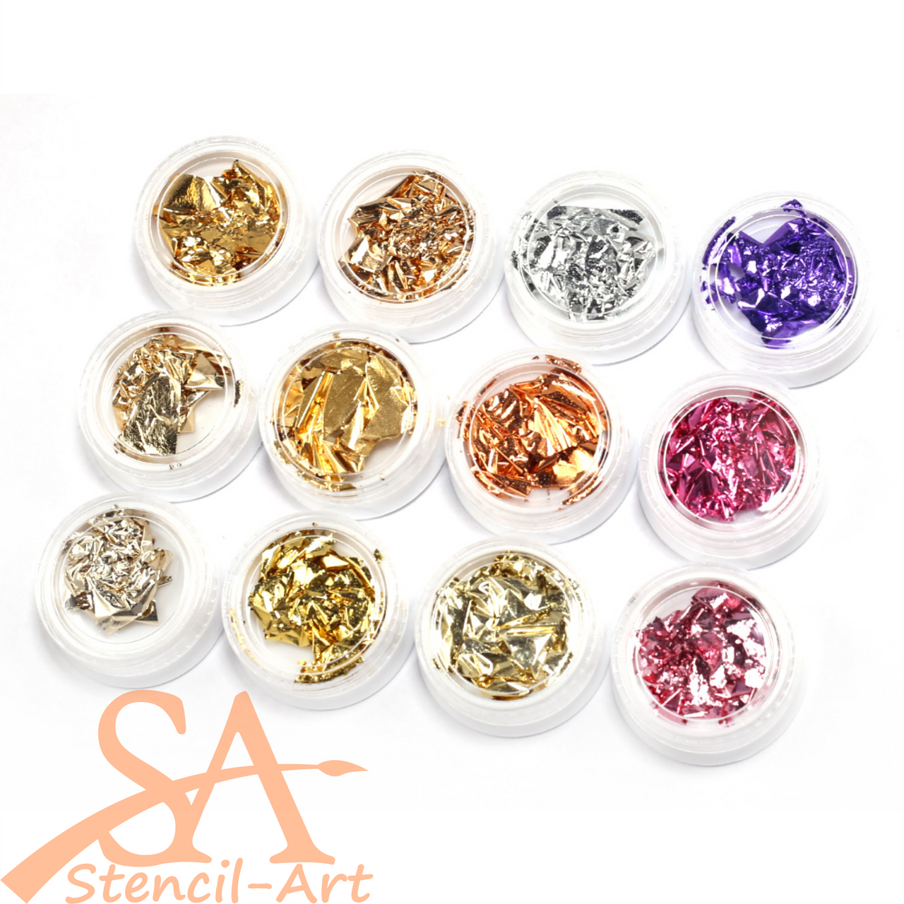 Metal Foil Flakes Mixed Set of 12 Assorted Colours