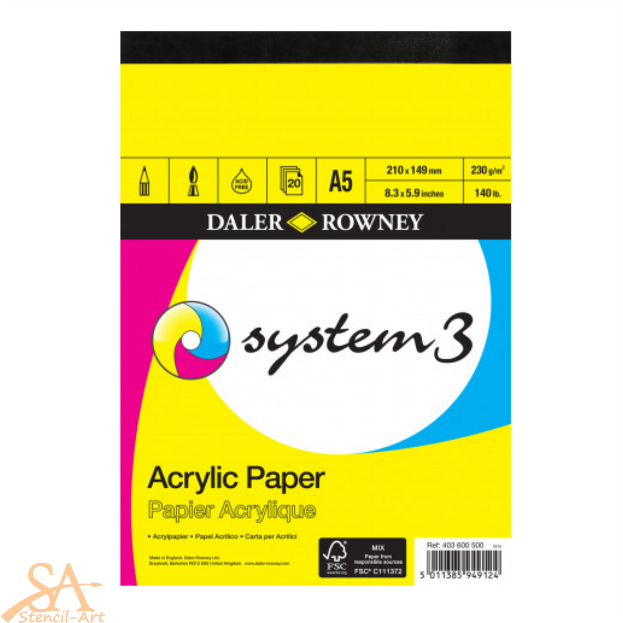 Daler-Rowney System 3 Acrylic Pad A5 - 20 sheets 230gsm