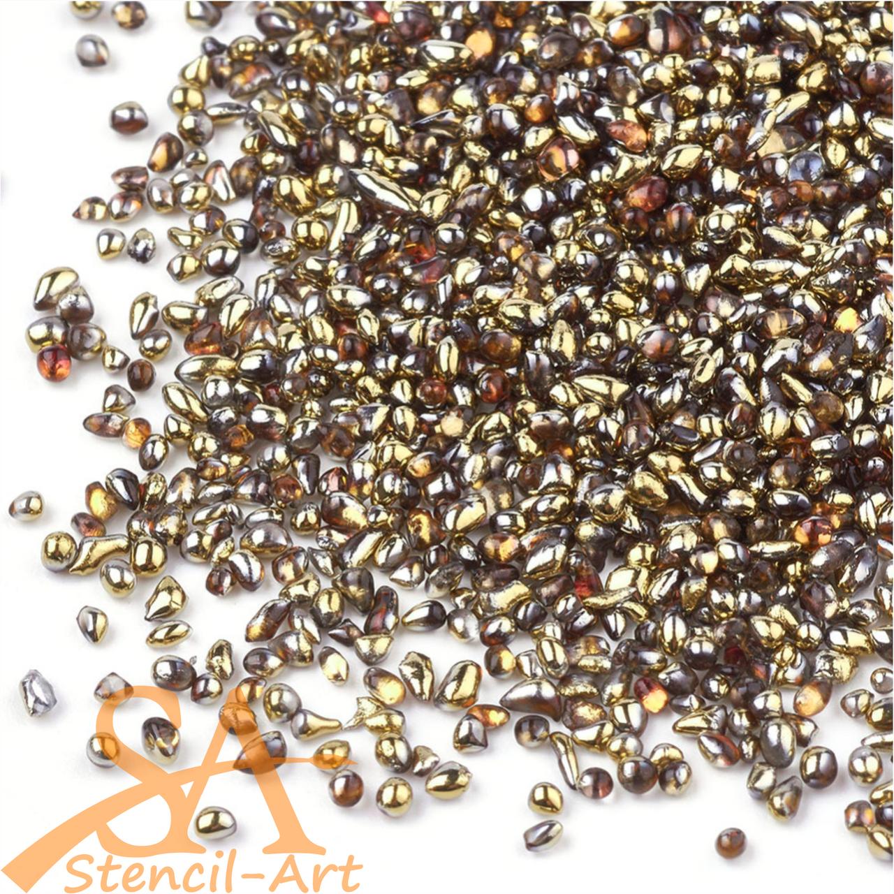 Small Irregular Glass Pebbles Dark Gold 50g