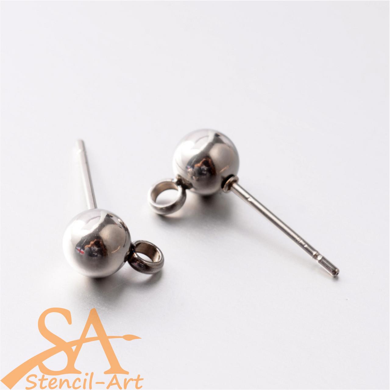 304 Stainless Steel Earring Stud Ball & Loop 5mm 20 pieces