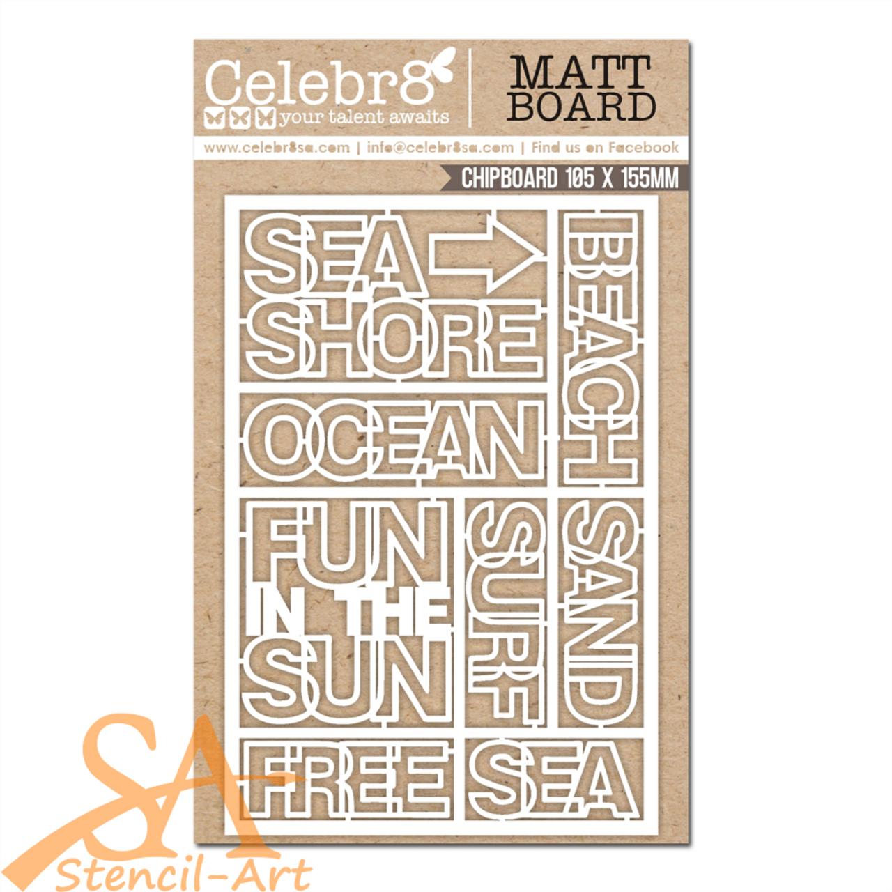 Celebr8 Chipboard/Mat Board OCEAN BLISS Mini Words #MB4656