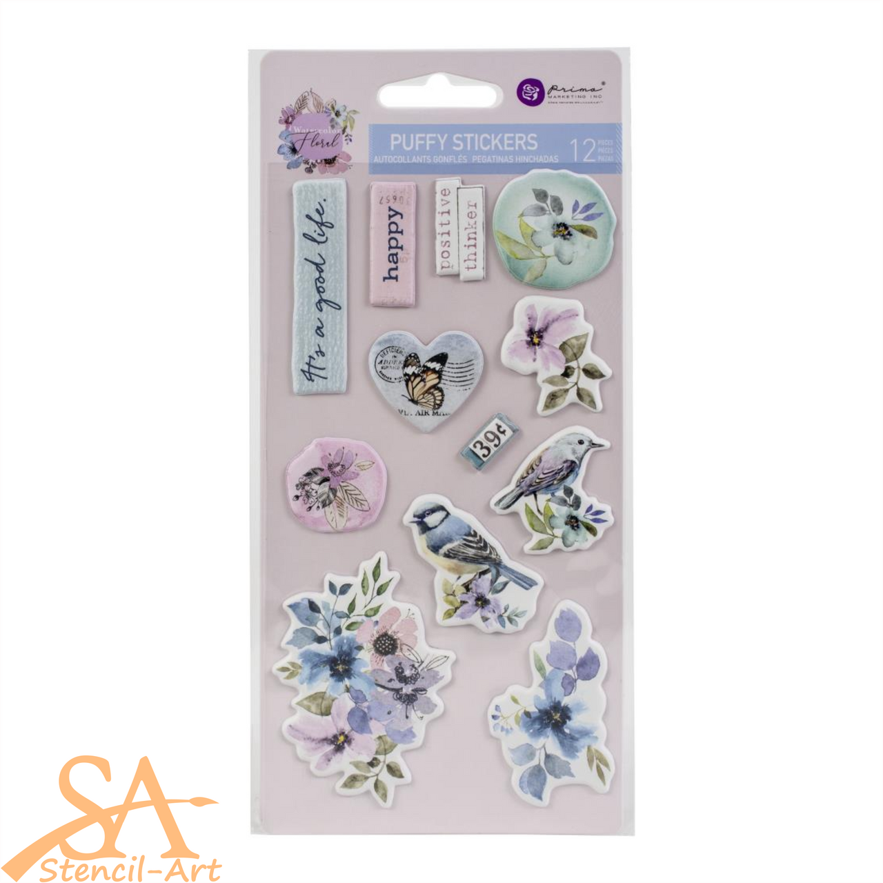 Prima Marketing Puffy Stickers WATERCOLOR FLORAL #651497