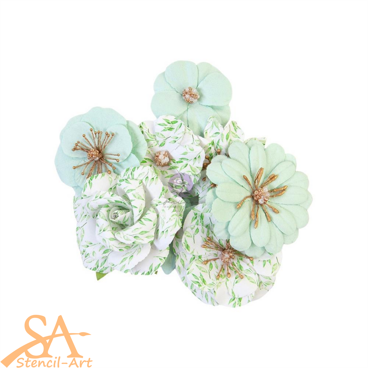 "Prima Marketing Flowers WATERCOLOR FLORAL ""Minty Water"" #653132"