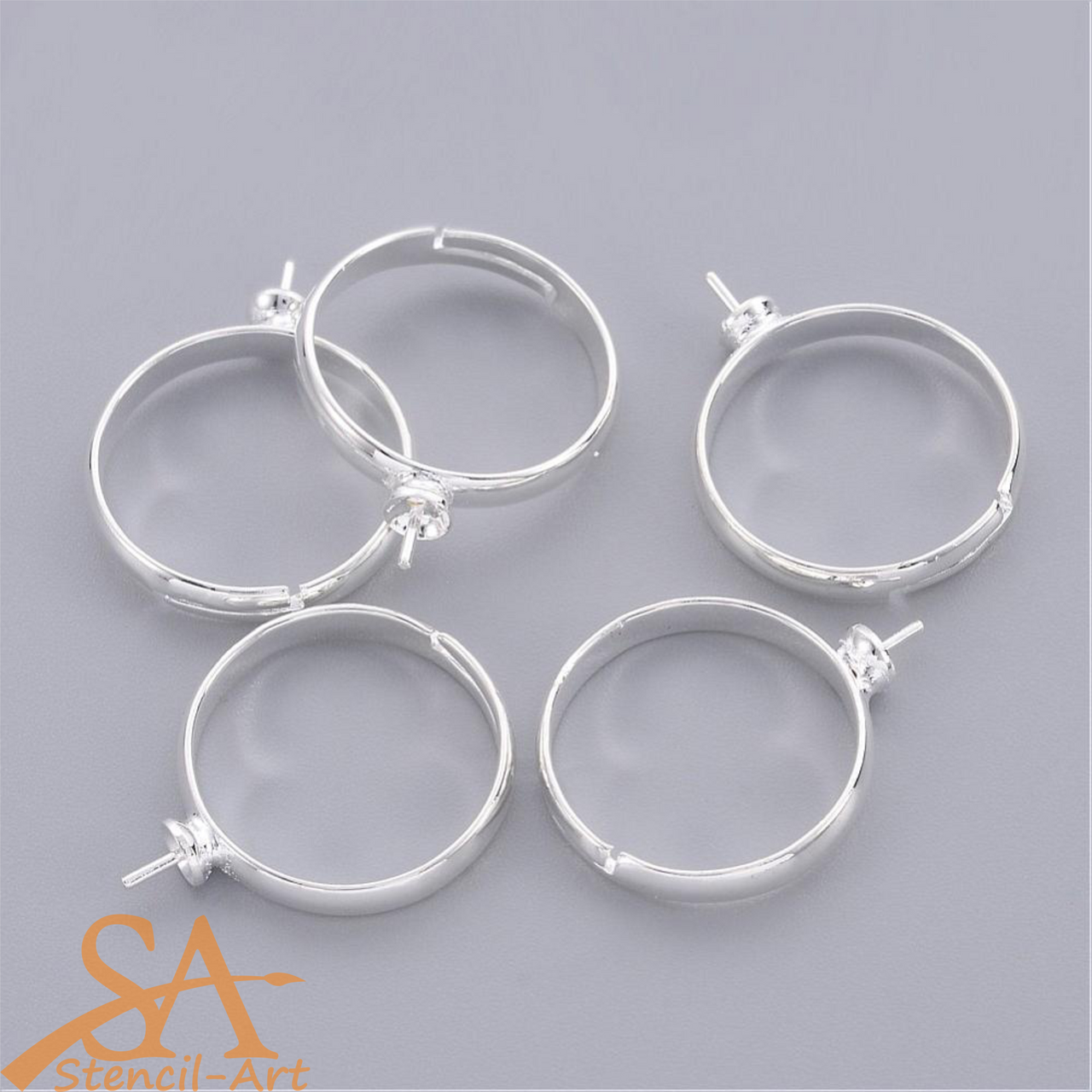 Adjustable Brass Ring Mounting & Setting Silver-Plated 19mm 10pcs