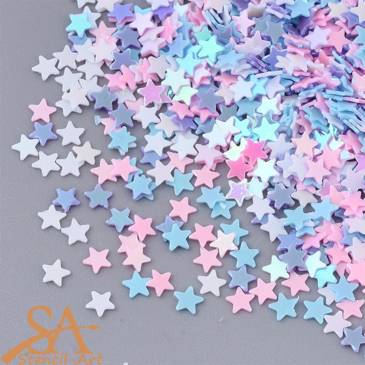 Plastic Sequins Stars Mixed Pastel Colours 14g