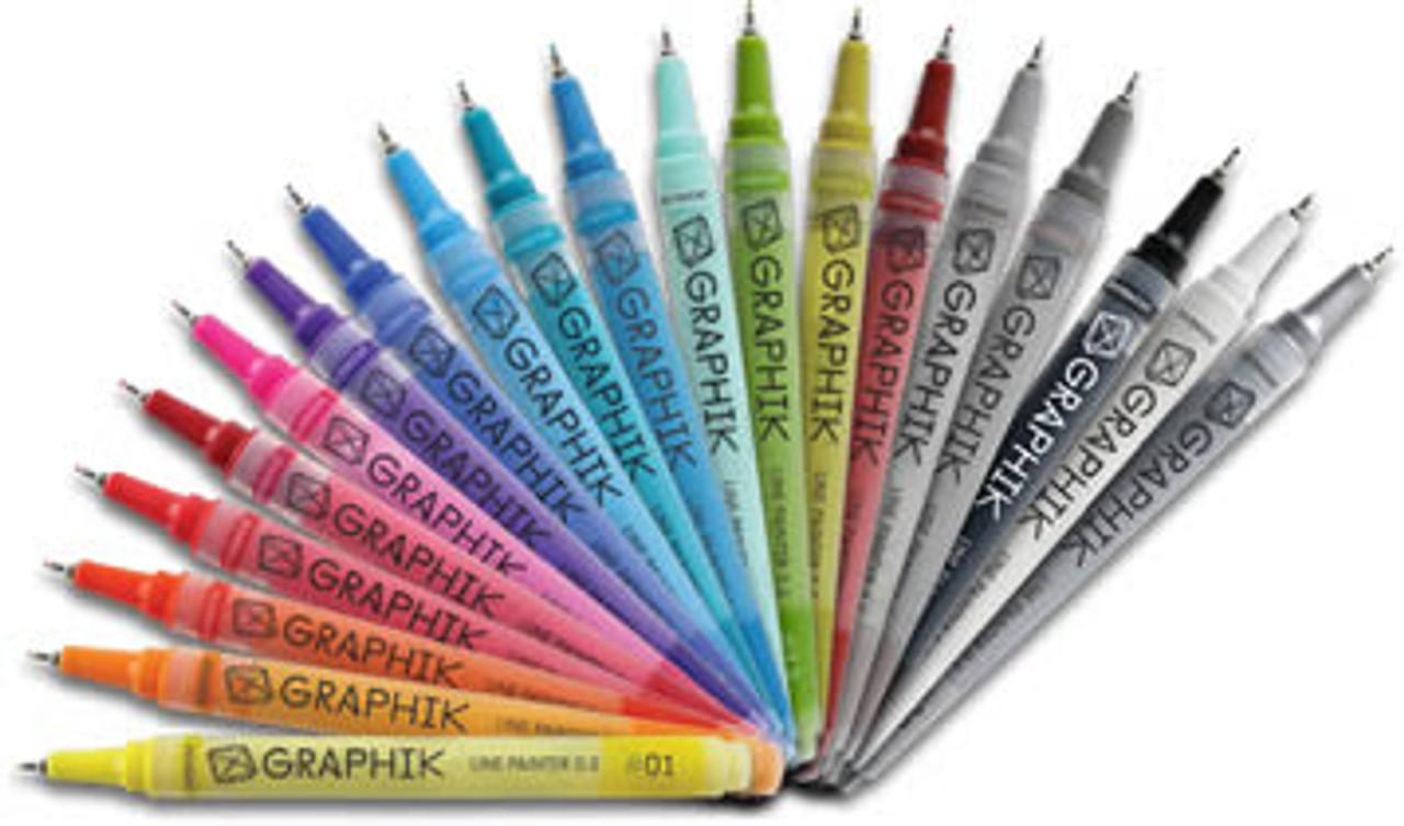 Derwent Graphik Line Painter Paint Pens Complete Full Set  of 20