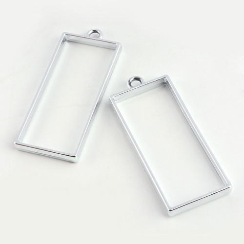 Open Frame Alloy Pendant Rectangle 49x20x3mm Platinum 10 Pcs