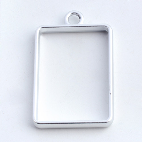 Open Frame Pendant Rectangle 25x19mm Matte Silver 10/pkg