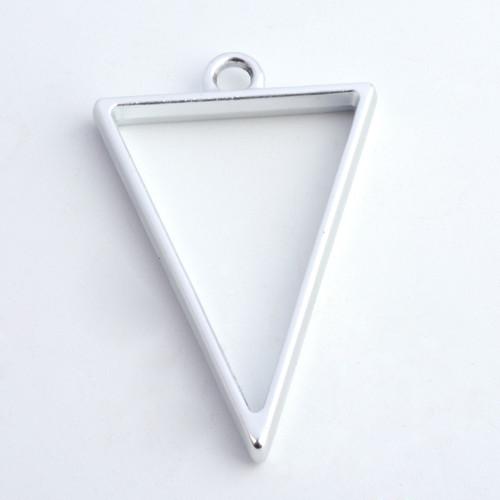Open Frame Pendant Triangle 30x20mm Matte Silver 10/pkg