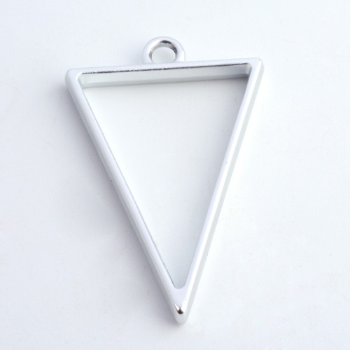 Open Frame Pendant Triangle 30x20mm Matte Silver 10 pieces