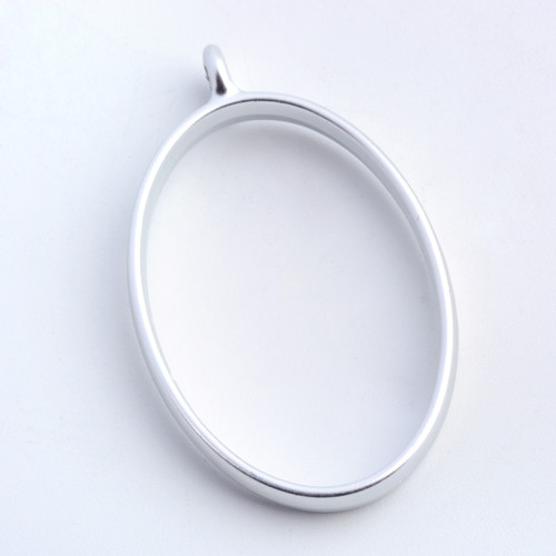 Open Frame Pendant Oval 32x21mm Matte Silver 10 pieces