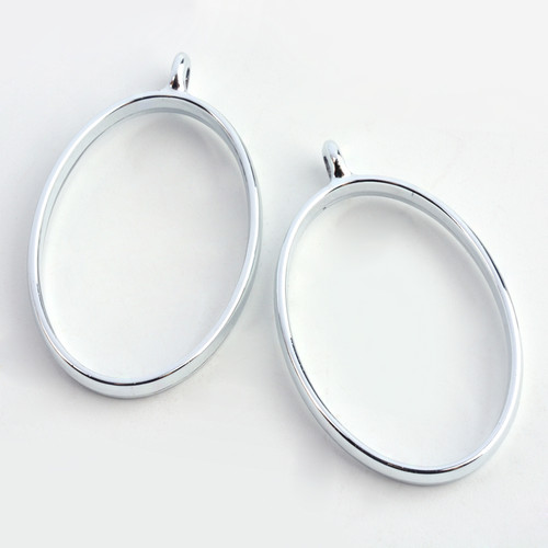 Open Frame Pendant Oval 32x21mm Platinum 10 pieces