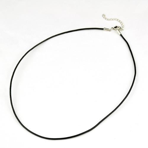 Necklace Leather Cord 2mm Black 44cm 10 pieces
