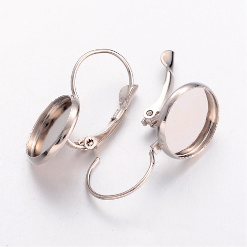 Brass Earring Hoops 12mm-Cabochon Setting Platinum 10/pkg