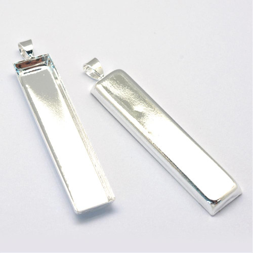 Rectangle Flat Brass Pendants 50x10mm Silver 10 pieces